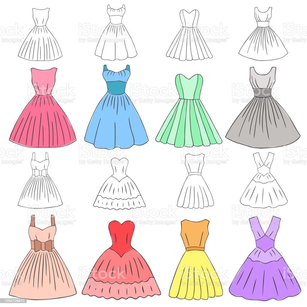 748e2cd8c7d076 Doodle jurken instellen voor verschillende soorten retro stijl jurken  royalty free doodle jurken instellen voor verschillende
