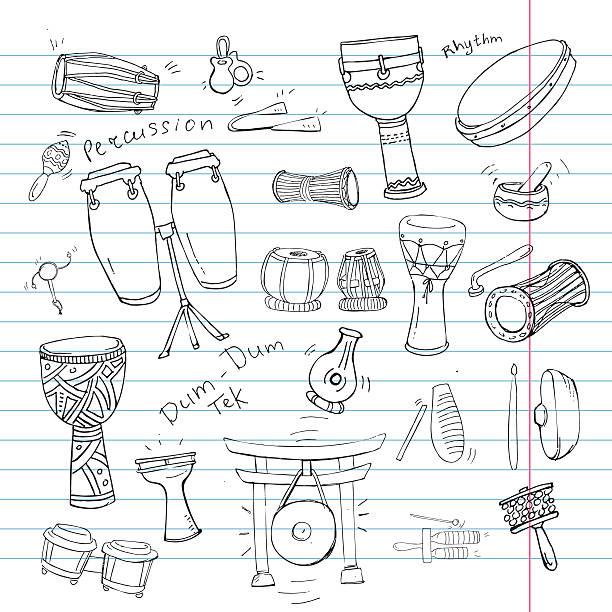 stockillustraties, clipart, cartoons en iconen met doodle drum book - castagnetten