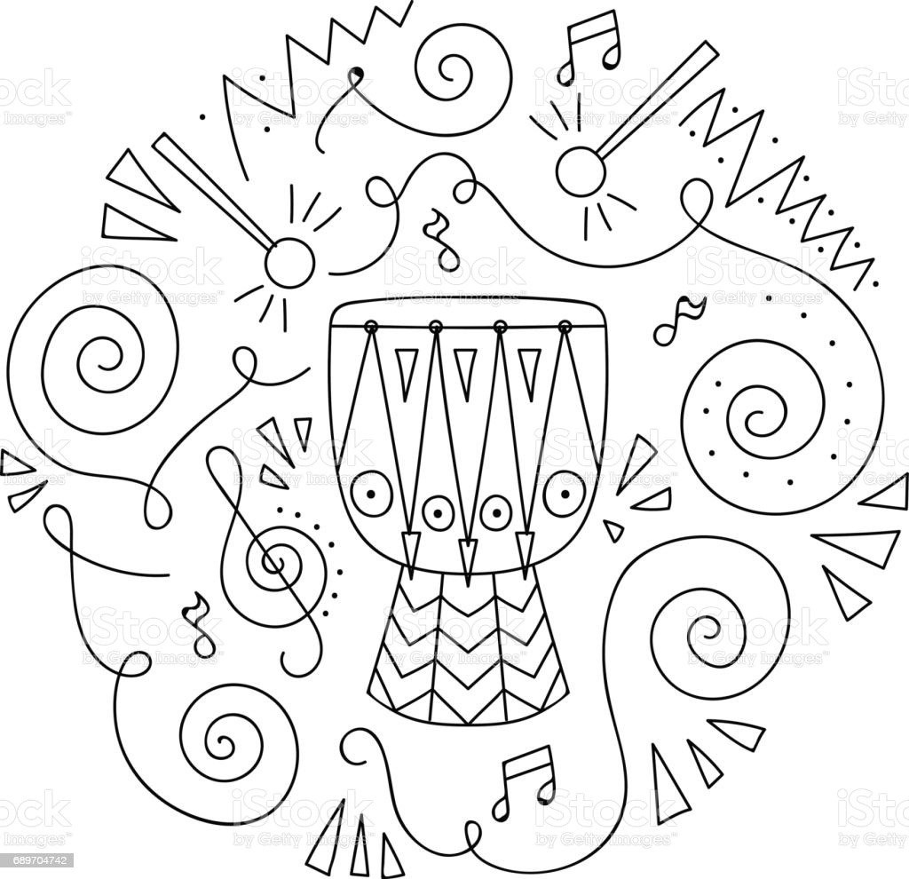 Doodle Drum Jazz Festival Coloring Page Stock Vector Art 689704742 Jazz Coloring Pages