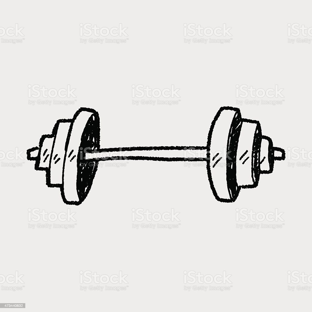 Doodle Dumbbell vector art illustration