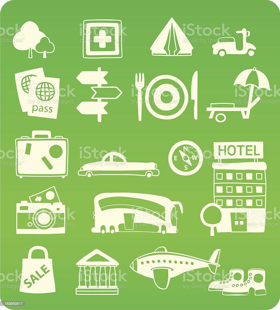Doodle eco tourism icons vector art illustration