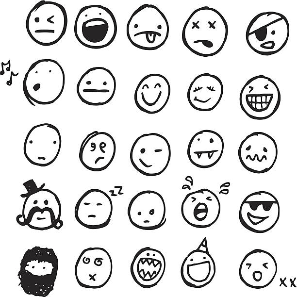 stockillustraties, clipart, cartoons en iconen met doodle emotions - smile