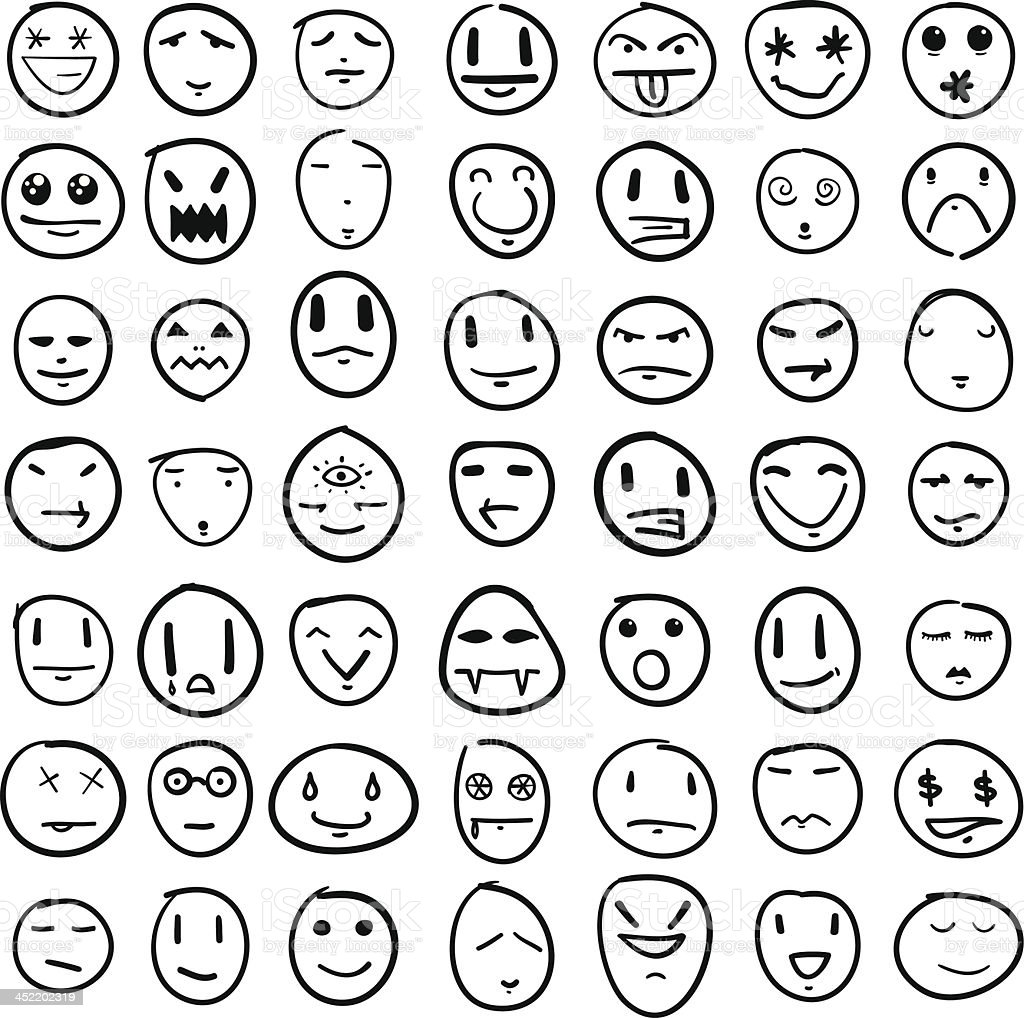 Doodle Faces Design Element Set Stock Vector Art & More ...