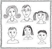 Set of doodle faces isolated on a white background