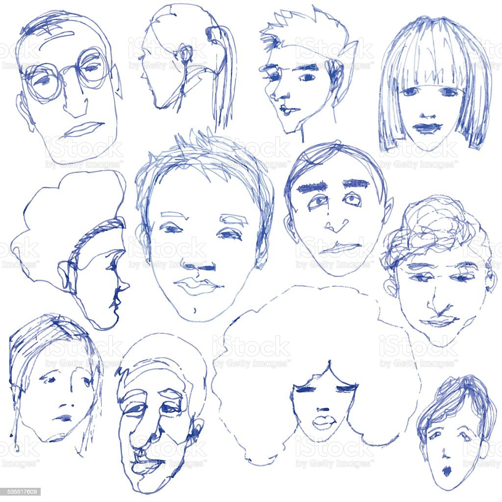 Doodle faces vector art illustration