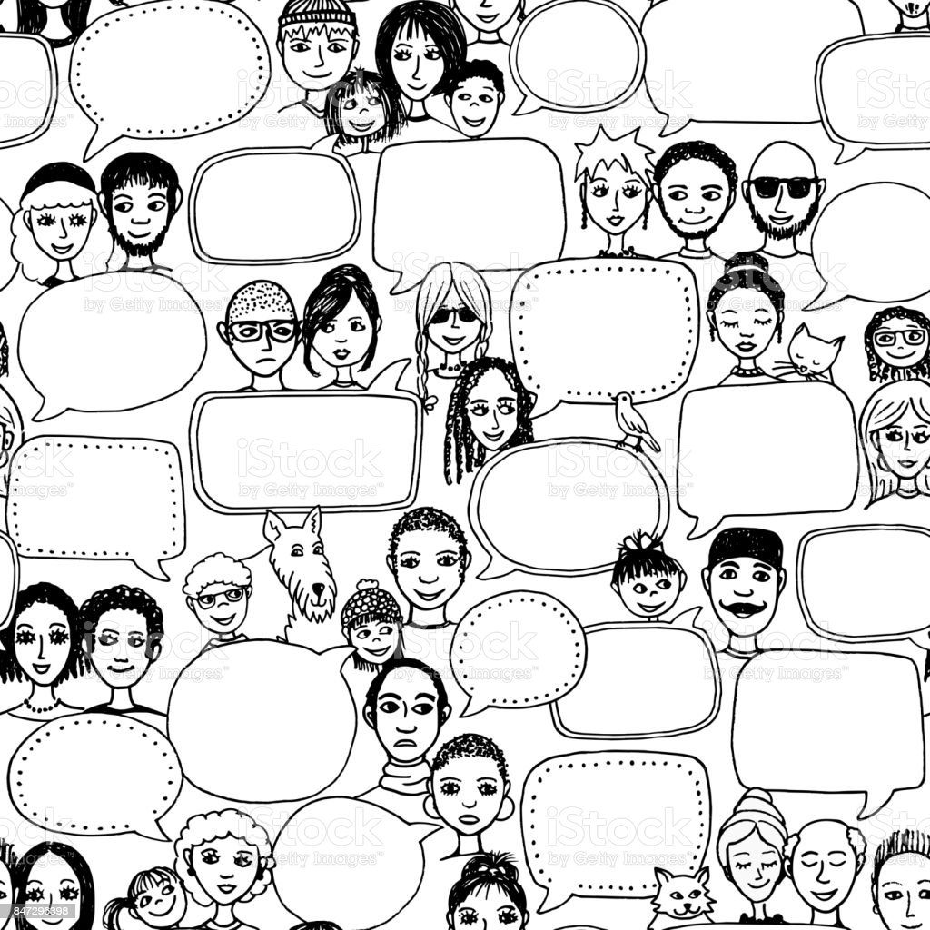 Doodle faces with empty speech bubbles, seamless pattern vector art illustration