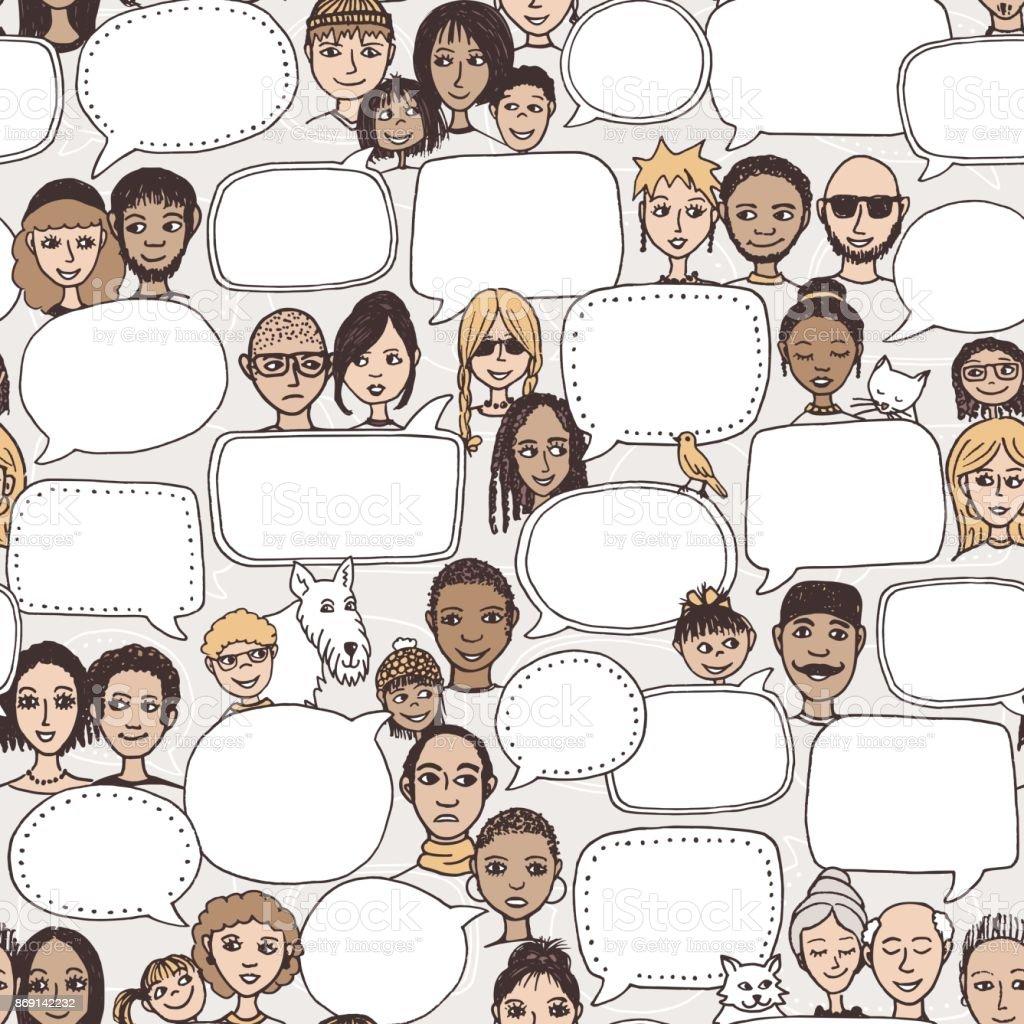 Doodle faces with empty speech bubbles vector art illustration