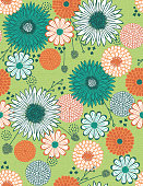 Doodle Fall Floral Seamless Vector Pattern
