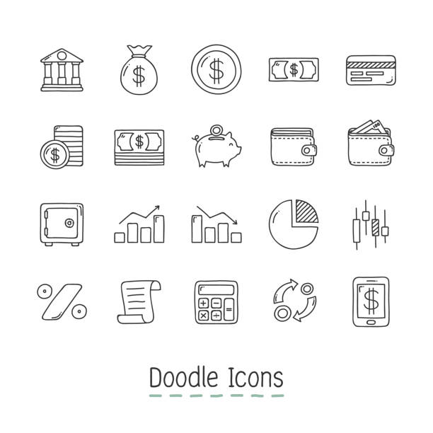 Doodle Financial Icons. Hand Drawn Icon Set. banking drawings stock illustrations