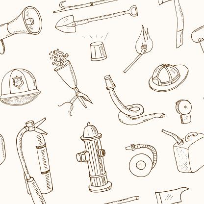 Doodle fire fighting tools seamless pattern Vintage illustration