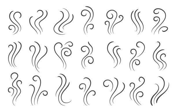 Doodle fire steam waves Doodle fire steam. Handdrawn smooth aroma smoke, vector hookah clouds doodle icons, incense comic steams waves wind stock illustrations