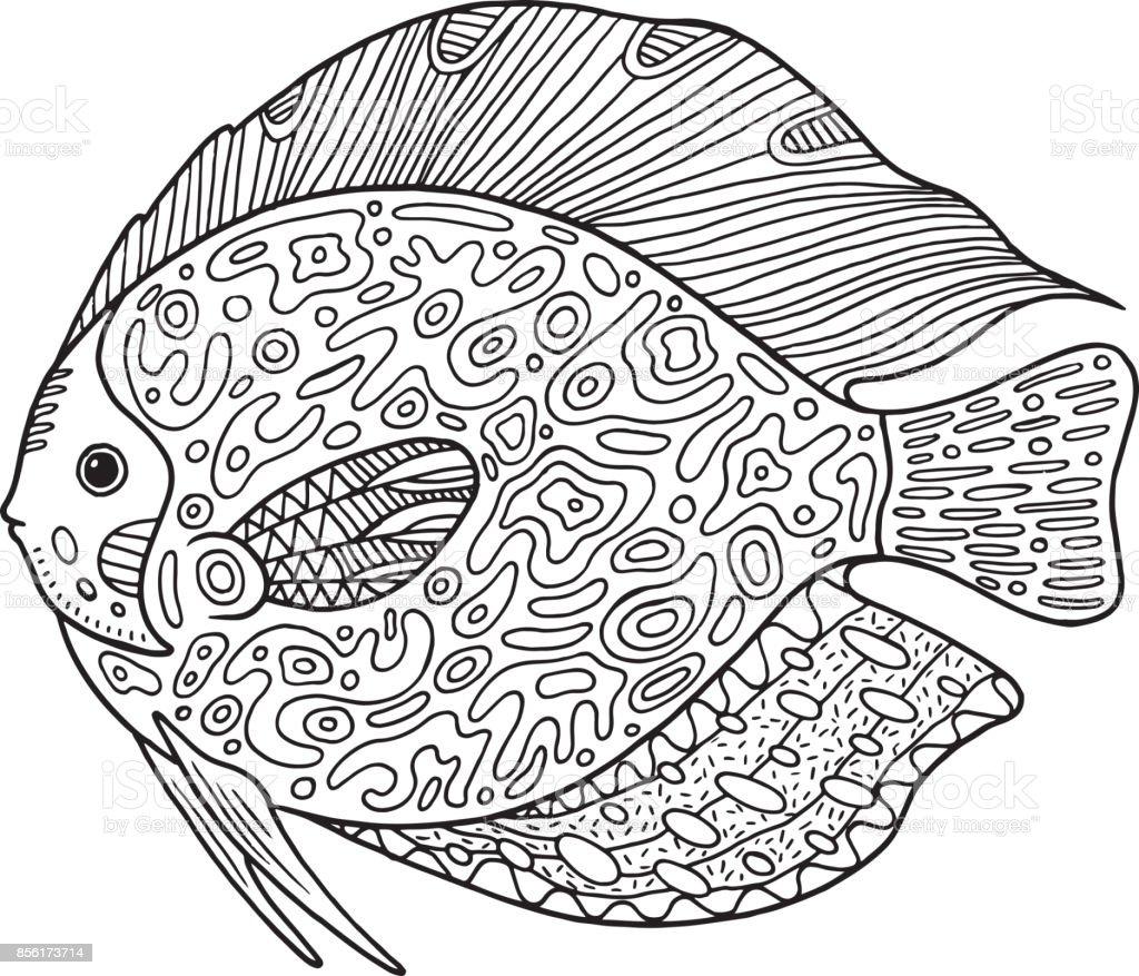 Doodle Zentangle Fisch Malvorlagen Mit Tieren Für Erwachsene Stock