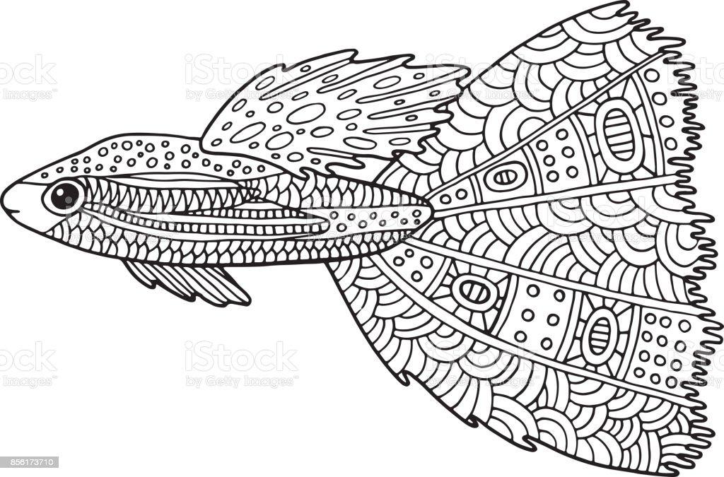 Doodle Zentangle Balık Yetişkinler Için Deniz Hayvan Boyama Sayfası