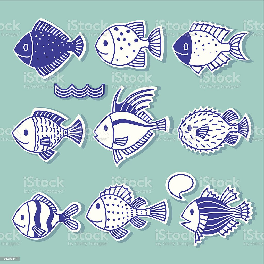 Doodle Fish. royalty-free doodle fish stock vector art & more images of animal fin
