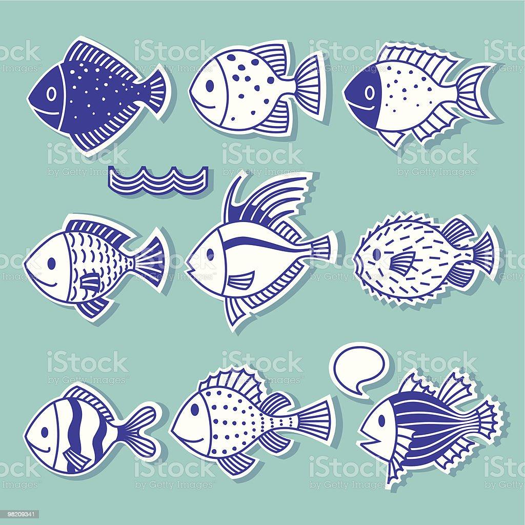 Scarabocchio pesce. scarabocchio pesce - immagini vettoriali stock e altre immagini di blu royalty-free