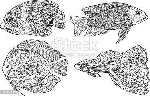 istock Doodle zentangle peces de colores. Arte Zen página para ...