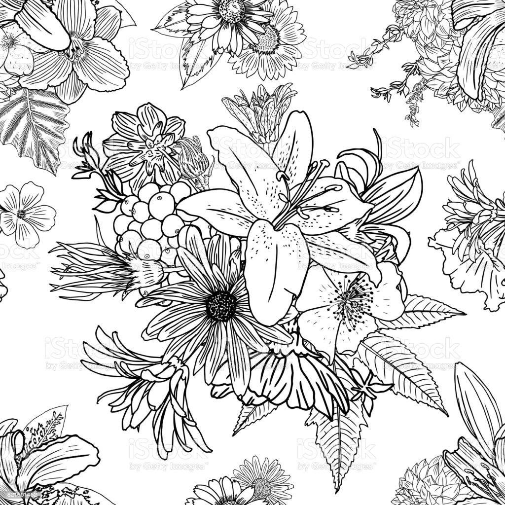 Doodle Floral Drawing Seamless Pattern Wallpaper Art Therapy Coloring Page For Adults Endless Flowers
