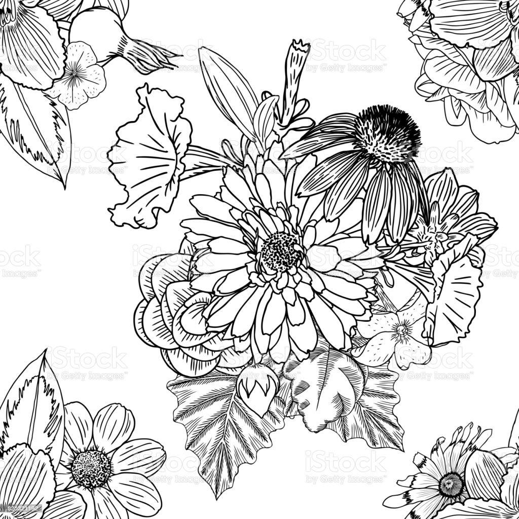 Fondos Florales De Patrones Sin Fisuras Dibujo Doodle Terapia Del ...
