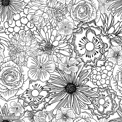 Doodle Floral Drawing Seamless Pattern Wallpaper Art
