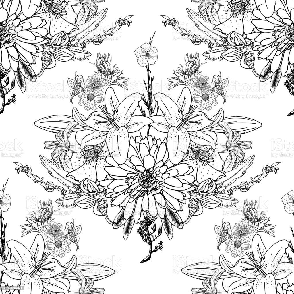doodle zeichnung musterdesign blumentapete kunsttherapie
