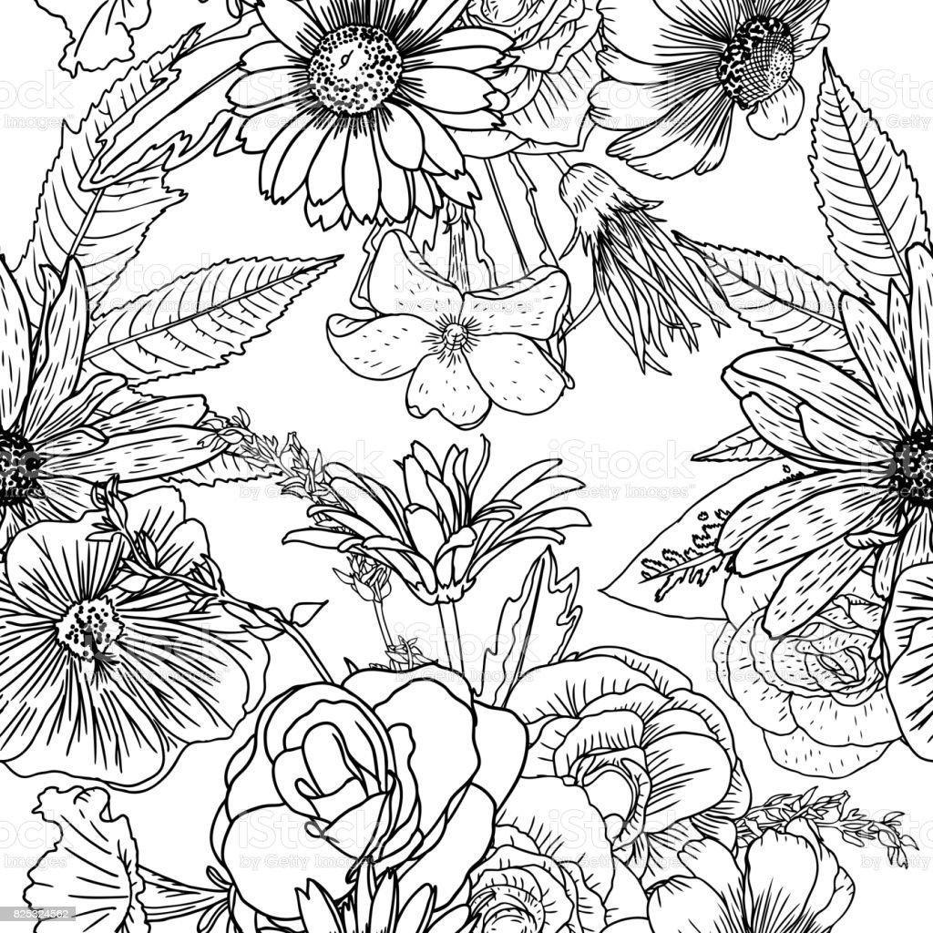 Doodle Floral Drawing Seamless Pattern Wallpaper Art Therapy ...