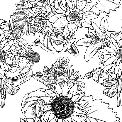 doodle zeichnung musterdesign blumentapete kunsttherapie malvorlagen für erwachsene unendlich
