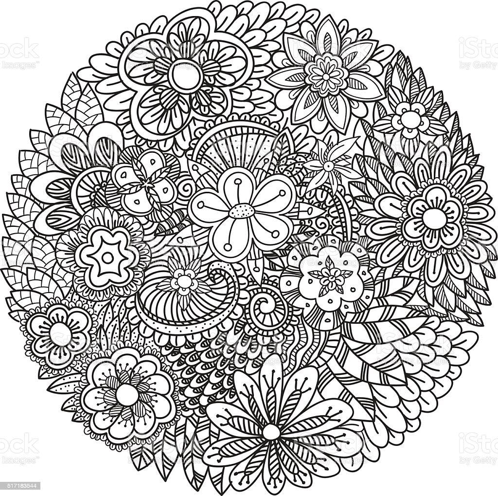 Fiori Mandala.Mandala Fiori Doodle Immagini Vettoriali Stock E Altre Immagini
