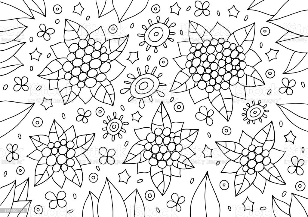 Doodle Floral Ornament Outline Abstract Flowers And Leaves