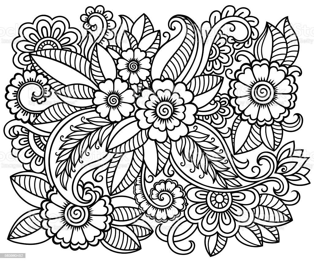 Doodle floral pattern for coloring book. - ilustração de arte em vetor