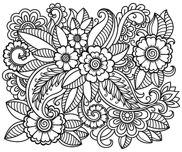 ilustrações, clipart, desenhos animados e ícones de doodle floral pattern for coloring book. - fontes de tatuagem