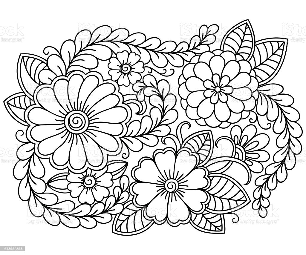 doodle floral pattern for coloring book stock vector art 618652868
