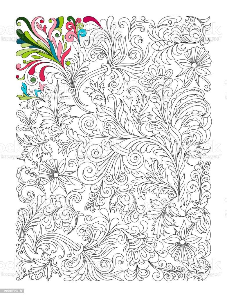 Doodle Motif Floral En Noir Et Blanc Page De Cahier De Coloriage Travail  Très Intéressant Et Relaxant Pour Enfants Et Adultes Tapis De Fleurs Dans  Le ...