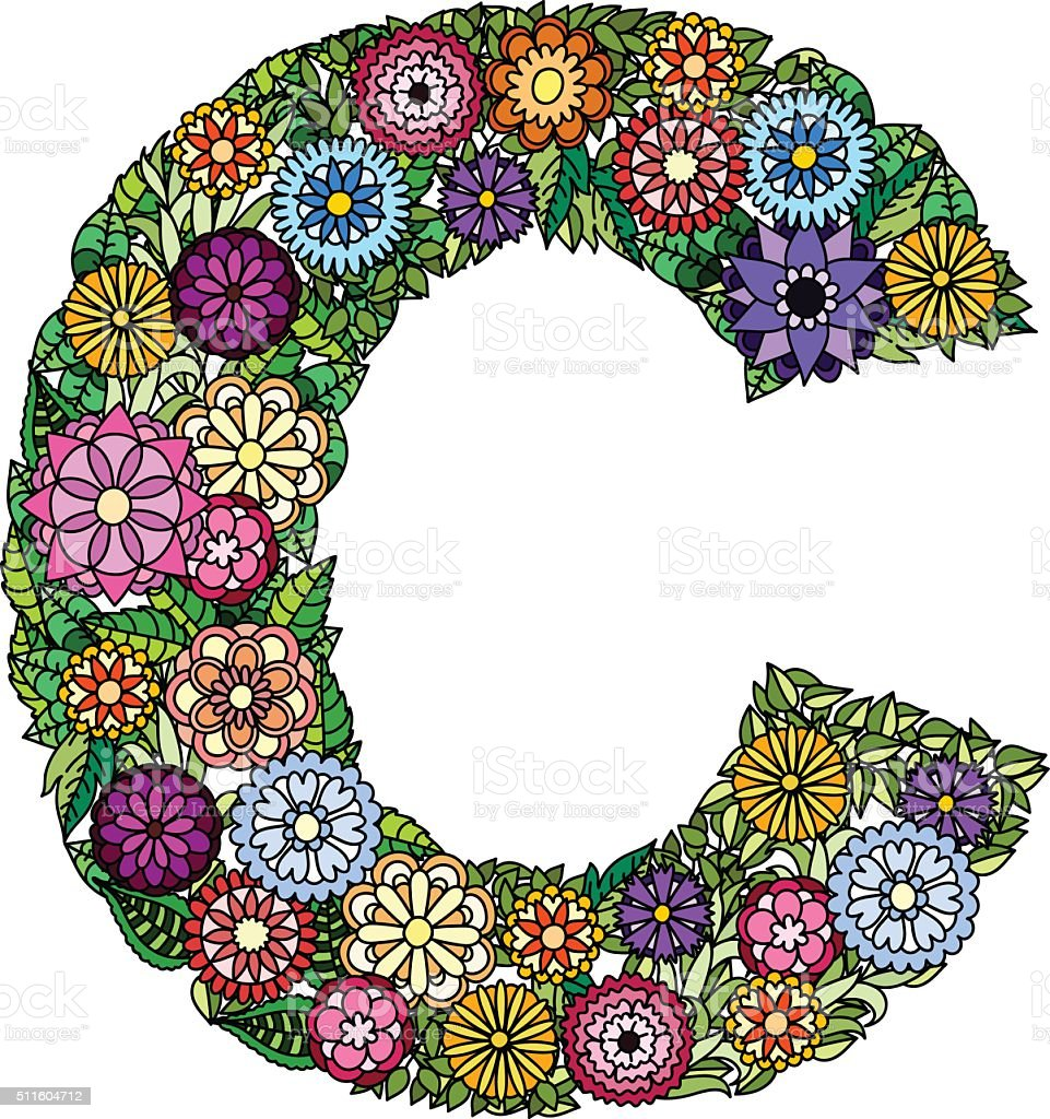 Doodle Flower Letter C Stock Illustration - Download Image