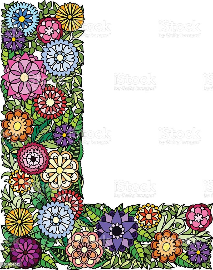 Doodle Flower Letter L stock vector art