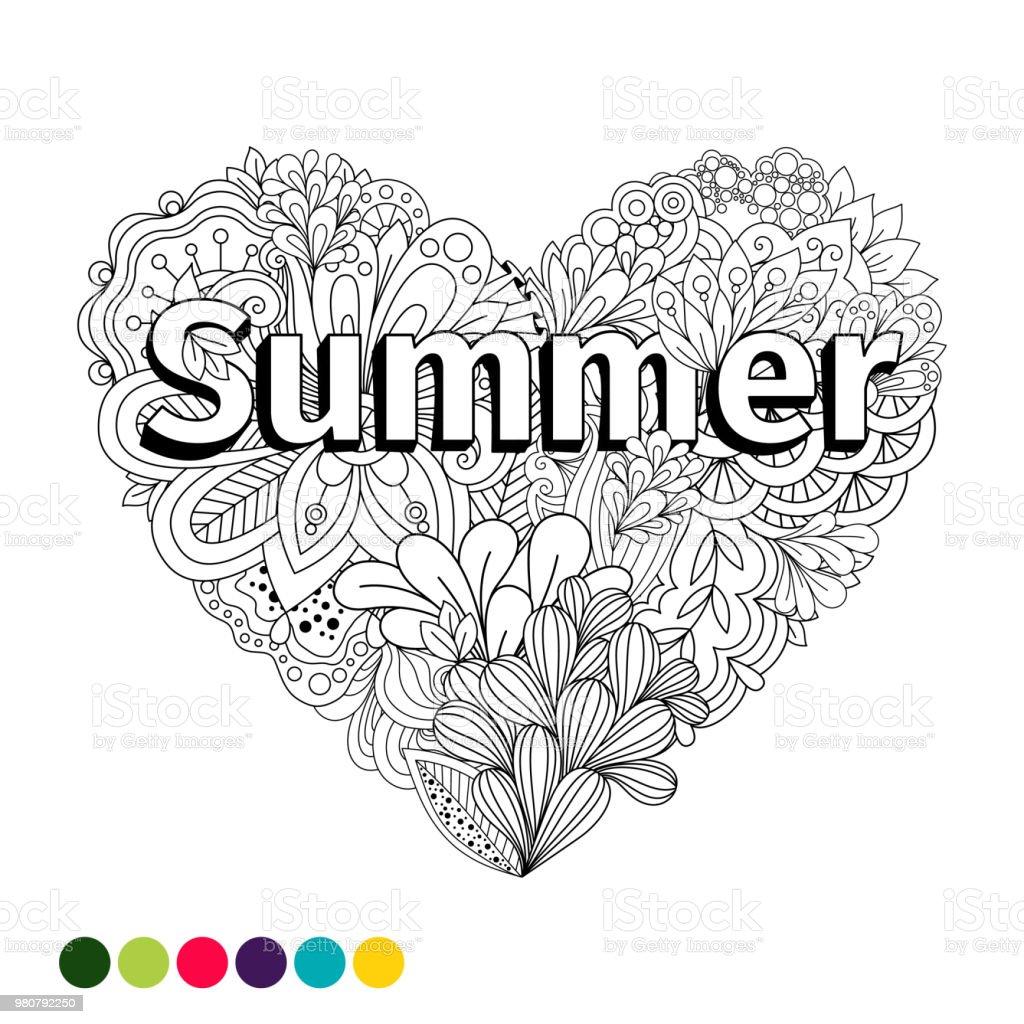 Doodle Blumen Herzen Malvorlagen Stock Vektor Art Und Mehr Bilder