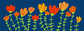 Doodle flowers on blue background. Hand drawn Vector illustration