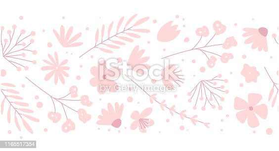 istock Doodle flowers seamless pattern for fabric. Girlish pink background 1165517354