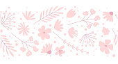 Doodle flowers seamless pattern for fabric. Girlish pink vector background