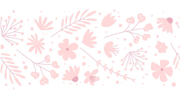 Doodle flowers seamless pattern for fabric. Girlish pink background Doodle flowers seamless pattern for fabric. Girlish pink vector background femininity stock illustrations