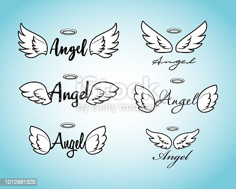 Feather wing flying, heavenly and angelic emblem illustration