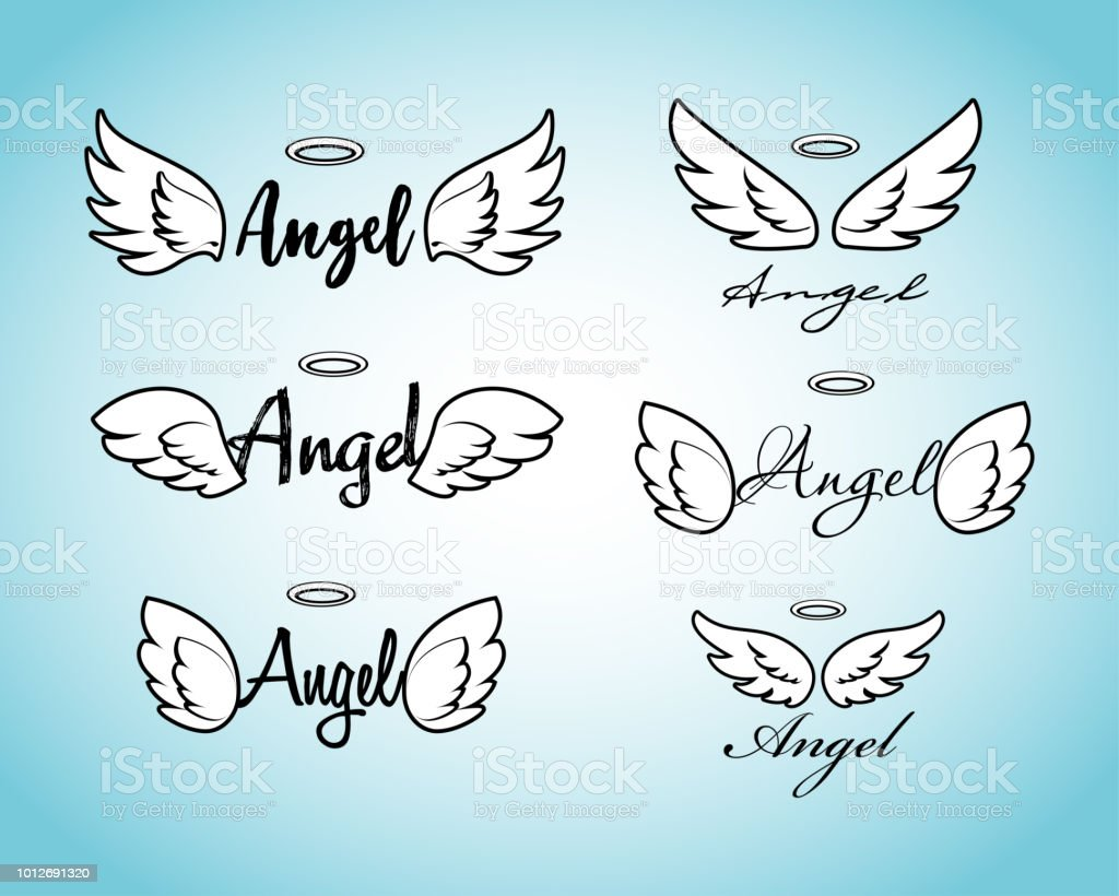 Doodle flying angel wings with halo. Sketch angelic wings. Freedom and religious tattoo vector design isolated on white background. vector art illustration