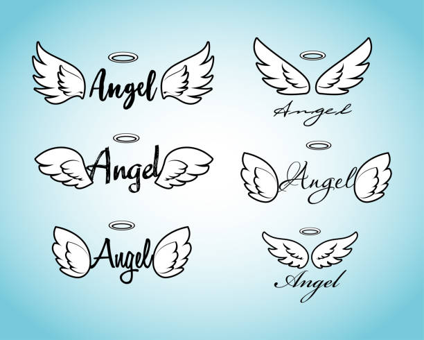 illustrazioni stock, clip art, cartoni animati e icone di tendenza di doodle flying angel wings with halo. sketch angelic wings. freedom and religious tattoo vector design isolated on white background. - aureola