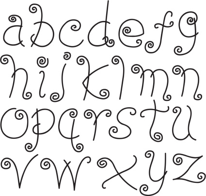Doodle Font Letters Lower Case Alphabet Text Stock