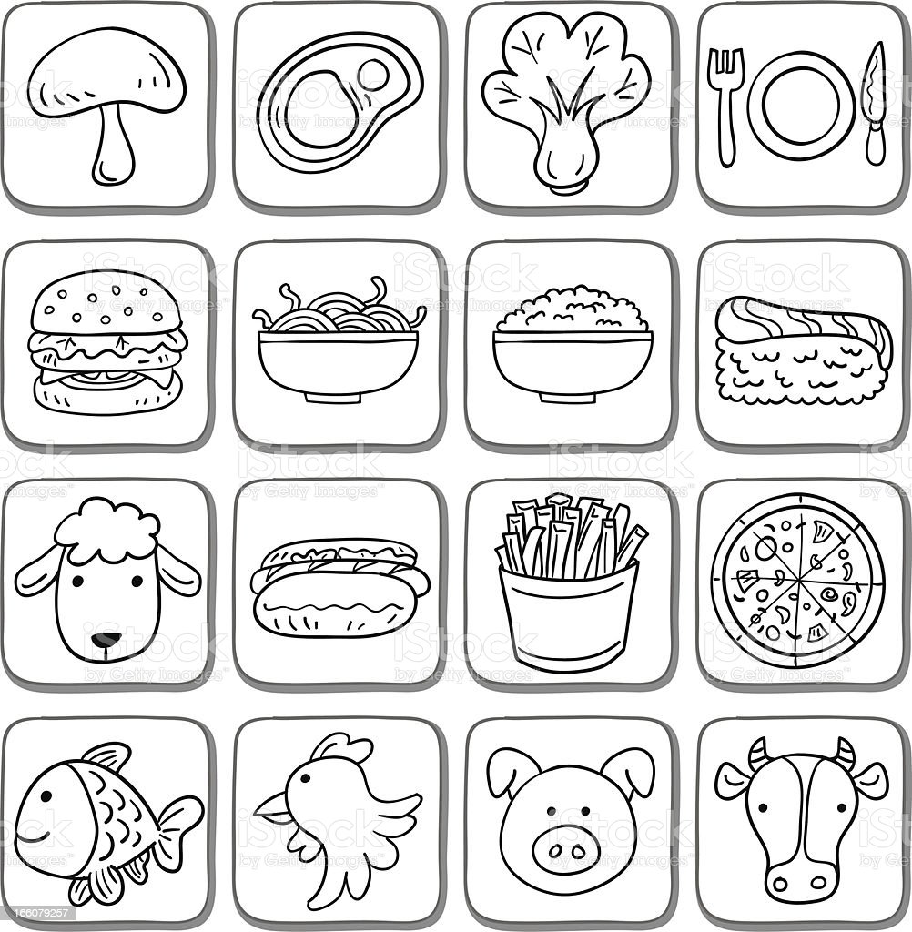 Doodle food icon set in black and white vector art illustration