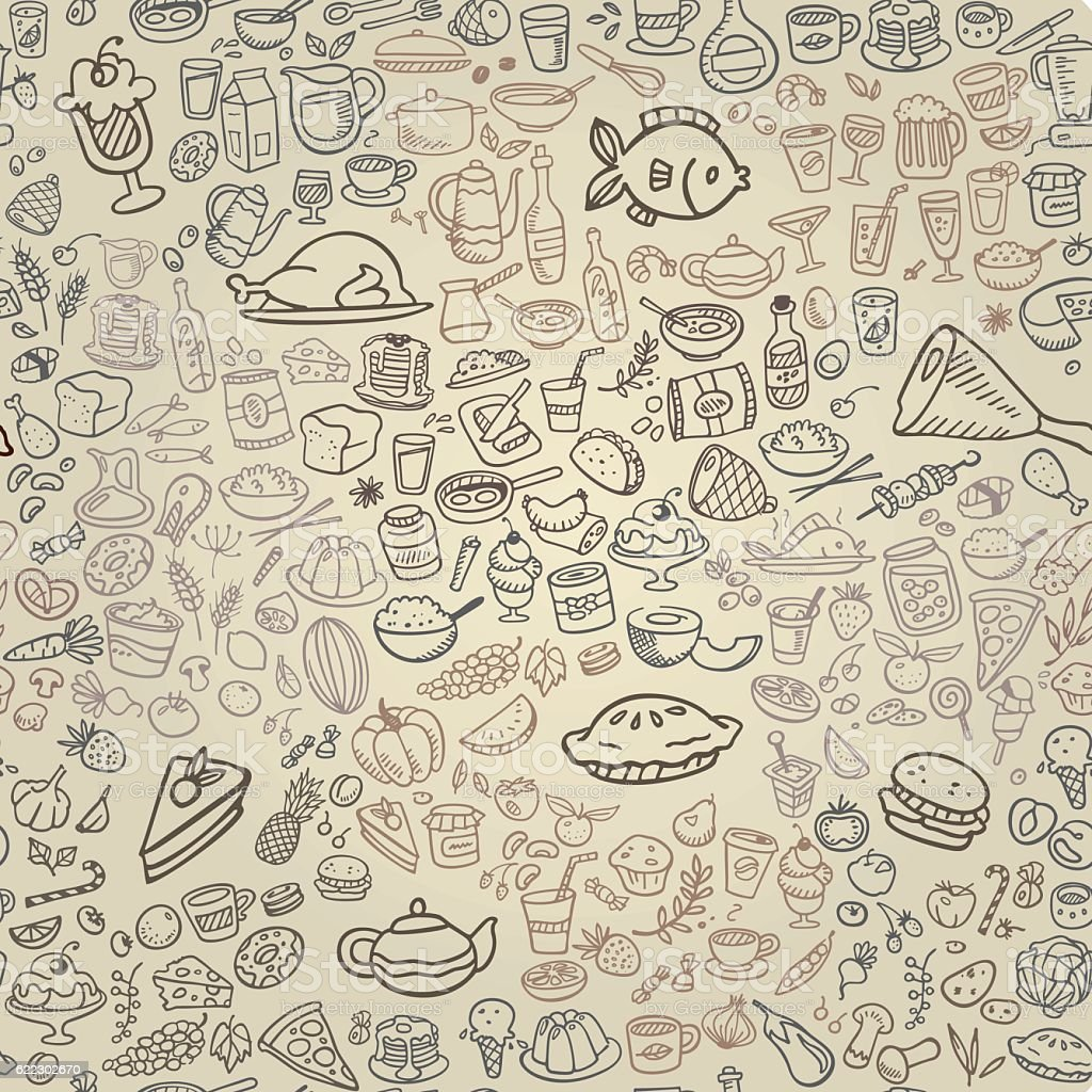 doodle food icons seamless background vector art illustration