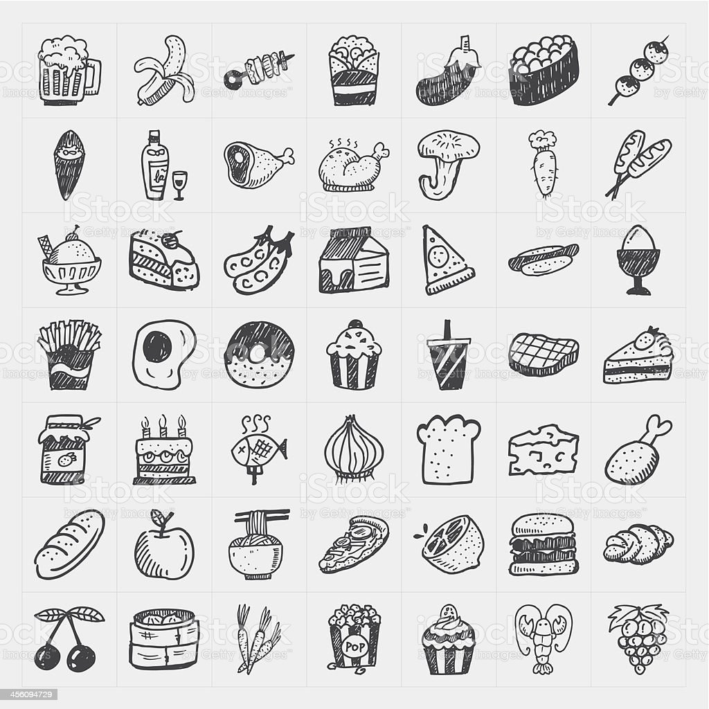 doodle food icons set vector art illustration