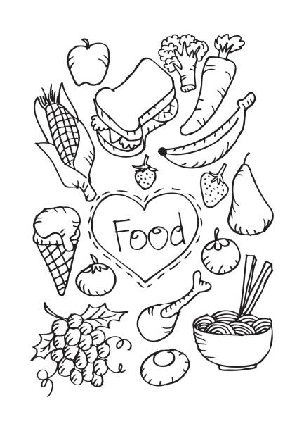 doodle food set. vector illustration. - burger and chicken stock illustrations