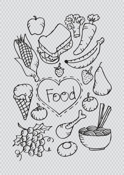 doodle food set. vector illustration. - burger and chicken stock illustrations