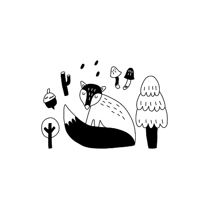 Doodle fox. Hand drawn line scandinavian style black and white print, cute scandi forest animal, kids t-shirt and nursery design. Woodland vector isolated illustration