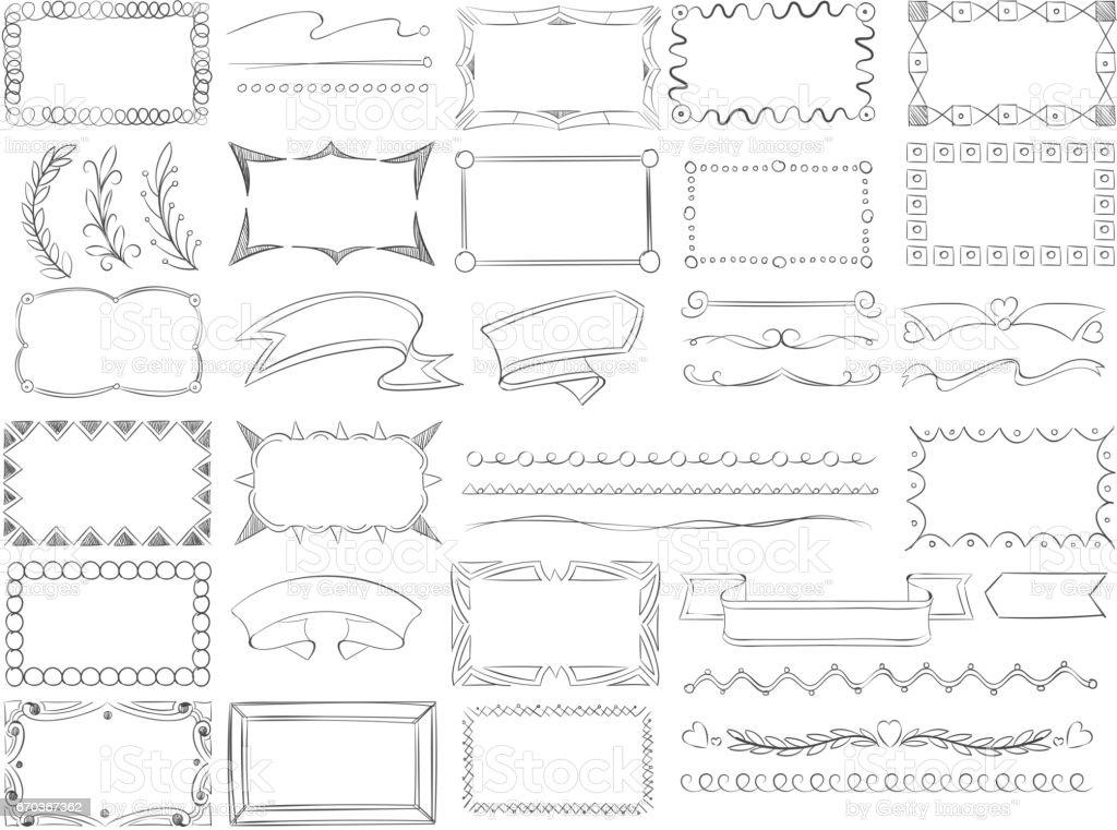 Ilustración de Doodle Bordes De Marco Banners De Cinta Dibujada A ...